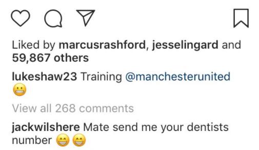Jack Wilshere's comment on Luke Shaw's photo on Instagram