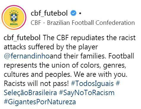The CBF replies to the Brazil fans' racist comments