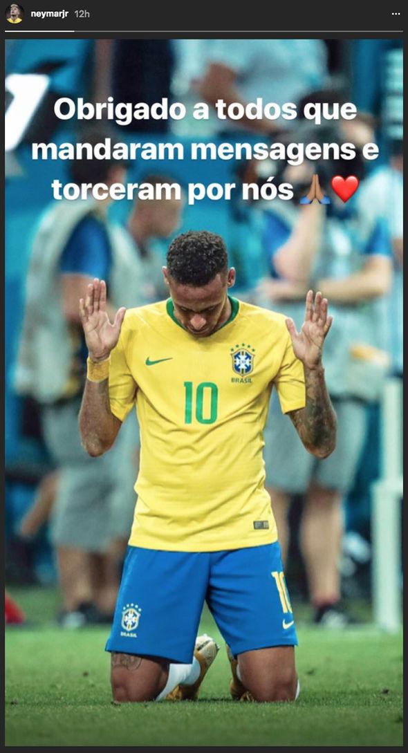 Neymar's Instagram story