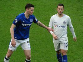 Michael Keane and Eden Hazard Everton