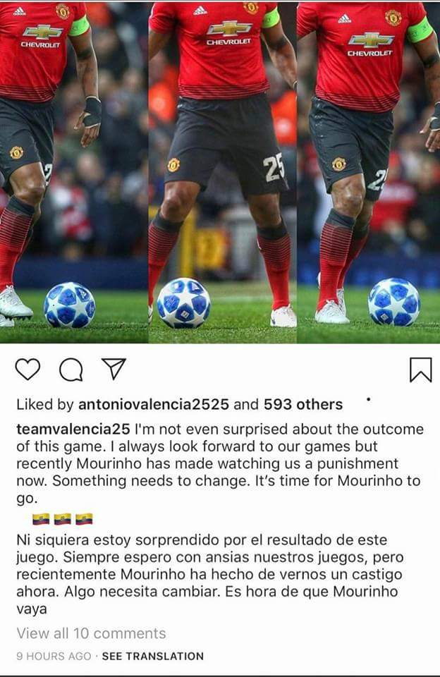 Antonio Valencia likes a post on Mourinho out