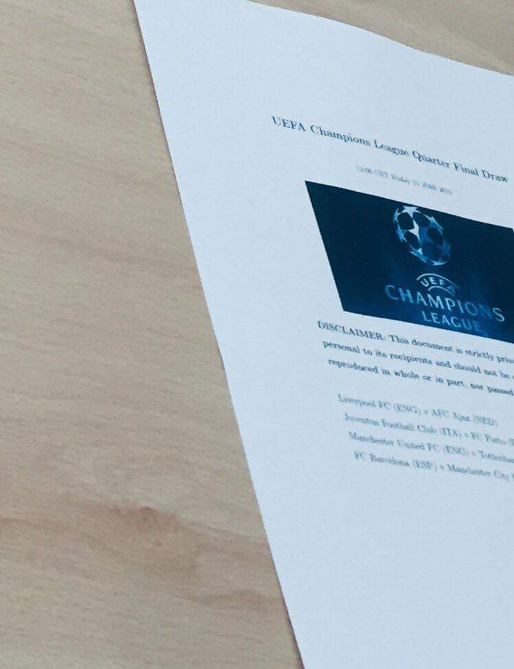 Champions League draw leaked
