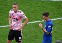 Christian Pulisic and Jamie Vardy Chelsea Leicester City
