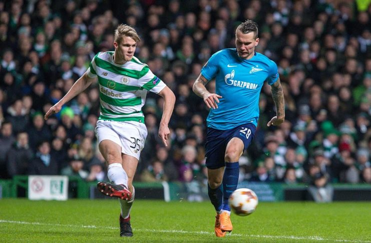 Kristoffer Ajer playing for Celtic FC